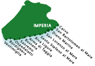 Une carte des plages dans la province d'Imperia