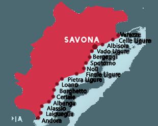 Carte des plages dans la province de Savona