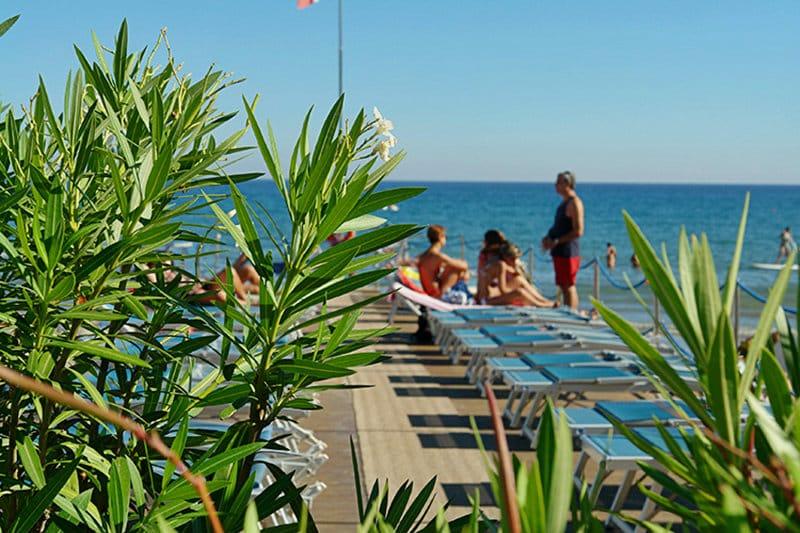 A private sandy beach in Diano Marina