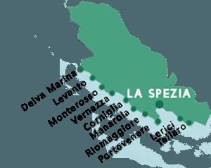 Carte des plages dans la province de La Spezia