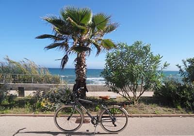 Un vélo dans la Pista Ciclabile, 26 km piste cyclable