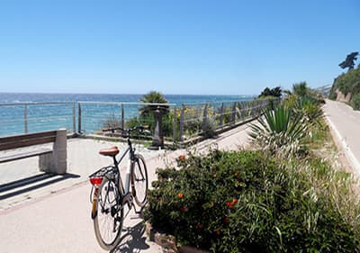 Cycle track directly by the sea in Liguria