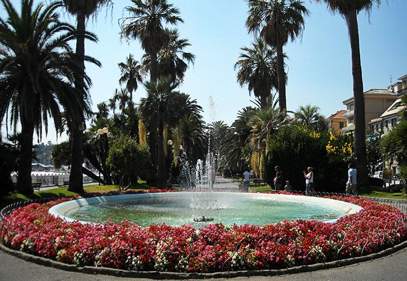 A beautiful fountain with flowers in Varazze