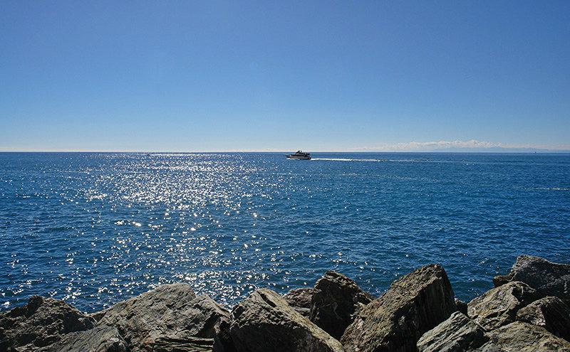 Vue d'une mer bleu clair à Camogli