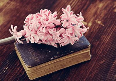 Réservez sur une table avec une fleur sur le dessus
