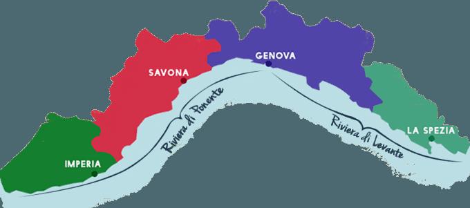 La région de la Ligurie est située dans le nord-ouest de l'Italie sur la méditerranée